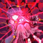 1girl attack black_hairband blue_shirt buttons closed_mouth collar collared_shirt eyeball flower frilled_sleeves frills full_body glowing hair_ornament hairband heart heart_hair_ornament highres holding komeiji_satori leg_warmers legs_up light light_rays long_sleeves looking_at_viewer one_eye_closed pink_eyes pink_hair pink_skirt rose shirt short_hair sitting skirt slippers solo spell_card string sunyup third_eye touhou wide-eyed wide_sleeves