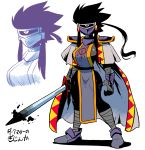 1girl bandaged_arm bandaged_leg bandages black_hair bracer cape cyclops dark_matter_blade gloves hair_tubes holding holding_sword holding_weapon humanization kirby_(series) kirby_mass_attack long_hair looking_at_viewer mask one-eyed ponytail rariatto_(ganguri) red_eyes shoulder_armor sidelocks simple_background solo spaulders sword tabard weapon white_background