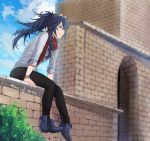 1girl ankle_boots bangle black_pants blue_eyes blue_footwear blue_hair blue_sky boots bracelet brick_wall casual contemporary day fire_emblem fire_emblem_awakening fire_emblem_heroes full_body jewelry light_smile long_hair lucina lucina_(fire_emblem) messy_hair on_wall pants ponytail red_scarf scarf sitting sky sleeves_pushed_up solo tiara tusia twitter_username