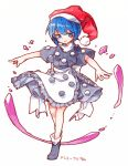 1girl apron back_bow black_dress black_footwear blue_eyes blue_hair blush bow character_name dated doremy_sweet dream_soul dress frills full_body hat kibayashi_kimori nightcap outstretched_arms pom_pom_(clothes) red_headwear short_hair short_sleeves signature solo spread_arms touhou traditional_media turtleneck waist_apron white_background white_bow