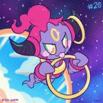 character_name commentary creature english_commentary floating full_body gen_6_pokemon green_eyes holding hoopa looking_at_viewer no_humans number pokemon pokemon_(creature) pokemon_number portal_(object) signature sky star_(sky) starry_sky tonestarr tongue tongue_out
