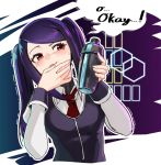 1girl collared_shirt commentary cropped_torso english_commentary english_text holding jill_stingray long_sleeves necktie purple_vest red_eyes red_neckwear seigetsu_kotaku shaker shirt sidelocks sleeve_cuffs smile solo sweat twintails upper_body va-11_hall-a vest violet_eyes