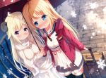 2girls akai_haato black_legwear blonde_hair blue_eyes blurry blurry_background blush bow bowtie breasts brown_jacket chinomaron closed_mouth commentary_request curled_horns depth_of_field dress fur_trim hair_ornament hairclip highres holding holding_umbrella hololive hood hood_down hooded_jacket horns jacket long_hair multiple_girls open_clothes open_jacket parted_lips red_jacket red_neckwear rolling_suitcase shared_umbrella sheep_horns small_breasts smile snowflakes standing thigh-highs tsunomaki_watame umbrella very_long_hair violet_eyes virtual_youtuber white_dress