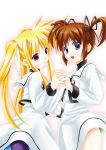 2girls black_ribbon blonde_hair blush brown_hair child couple fate_testarossa happy highres holding_hand interlocked_fingers kuroyorozu legs long_hair looking_at_another lyrical_nanoha magical_girl mahou_shoujo_lyrical_nanoha mahou_shoujo_lyrical_nanoha_a's multiple_girls open_mouth red_eyes red_ribbon ribbon school_uniform short_hair short_twintails simple_background skirt smile takamachi_nanoha thighs twintails uniform violet_eyes white_background white_ribbon yuri