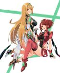 2girls bangs bare_shoulders blonde_hair breasts covered_navel earrings elbow_gloves fingerless_gloves gem gloves headpiece highres hikari_(xenoblade_2) holding_hands homura_(xenoblade_2) jewelry large_breasts long_hair looking_at_viewer mokki multiple_girls open_mouth red_eyes red_shorts redhead short_hair short_shorts shorts shoulder_armor sideboob swept_bangs thigh-highs thigh_strap tiara user_endv5287 very_long_hair xenoblade_(series) xenoblade_2 yellow_eyes