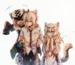 1boy 2girls ^_^ ^o^ animal_ears arknights braid brother_and_sister carrying cat_ears cat_tail circlet cliffheart_(arknights) closed_eyes commentary_request fang fur_trim grey_eyes hair_between_eyes hat highres long_hair multiple_girls necktie nga_(artist) piggyback pramanix_(arknights) siblings silver_hair silverash_(arknights) sleeves_past_wrists smile tail