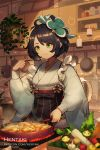 1girl :t artist_name bangs black_bow black_hair black_skirt bow breasts candle character_request closed_mouth commentary cookie dragalia_lost eating english_commentary eyebrows_visible_through_hair fire food frying_pan garlic green_eyes grey_kimono hair_ornament hentaki high-waist_skirt highres holding holding_spoon indoors japanese_clothes kimono kitchen long_sleeves short_hair skirt small_breasts smile solo spoon striped vertical-striped_skirt vertical_stripes watermark web_address