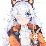1girl ;3 ahoge animal_ears axent_wear bangs blue_eyes blush braid cat_ear_headphones chinese_commentary closed_mouth commentary_request dated drawstring ejieaa eyebrows_visible_through_hair fake_animal_ears gloves hair_between_eyes hair_ornament hairclip headphones highres honkai_(series) honkai_impact_3rd hood hood_down hooded_jacket jacket kiana_kaslana long_sleeves looking_at_viewer one_eye_closed open_clothes open_jacket orange_jacket silver_hair simple_background solo sparkling_eyes twin_braids upper_body v white_background white_gloves