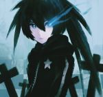 1girl asymmetrical_hair black_coat black_hair black_rock_shooter black_rock_shooter_(character) blue_eyes checkered checkered_background closed_mouth coat cross flaming_eye hair_between_eyes highres hooded_coat long_hair looking_at_viewer ly_(pixiv13839236) print_coat solo star star_print twintails upper_body