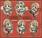 6+girls ahoge bandaid bangs beret bike_shorts black_eyes blush braid bucket character_name chibi enemy_lifebuoy_(kantai_collection) etorofu_(kantai_collection) fang fangs first_aid_kit food freckles frilled_skirt frills fukae_(kantai_collection) fur_trim garter_straps glasses gloves hair_ornament hairclip hat highres hirato_(kantai_collection) holding kantai_collection kneehighs long_hair long_sleeves makora_higa matsuwa_(kantai_collection) multiple_girls onigiri open_mouth pantyhose pleated_skirt red_background sado_(kantai_collection) sailor_collar sailor_hat school_uniform serafuku shinkaisei-kan short_hair short_sleeves shorts shorts_under_skirt side_braids skin_fang skirt smile socks thick_eyebrows thigh-highs tsushima_(kantai_collection) twintails twitter_username watering_can