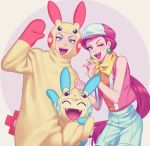 1boy 1girl blue_eyes cosplay fangs gi_xxy green_eyes highres kojirou_(pokemon) meowth minun minun_(cosplay) musashi_(pokemon) plusle plusle_(cosplay) pokemon pokemon_(creature) smile team_rocket