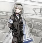 1girl brown_eyes choker flag flower girls_frontline grey_hair gun hair_flower hair_ornament hairband highres israeli_flag long_hair looking_at_viewer military military_operator military_uniform rampart1028 simple_background solo uniform weapon x95_(girls_frontline)