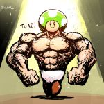 1boy abs blush_stickers clenched_hands hat looking_at_viewer male_focus mario_(series) muscle nintendo nintendo_ead panties rariatto_(ganguri) realistic solo standing super_mario_bros. super_smash_bros. toad topless twitter_username underwear veins what white_panties