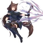1girl absurdres animal_ear_fluff animal_ears arrow bangs belt belt_buckle black_cloak black_footwear black_gloves black_shorts blush boots bow_(weapon) brown_hair brown_legwear buckle cloak eyebrows_visible_through_hair full_body gloves grey_belt grey_sweater hair_between_eyes highres holding holding_bow_(weapon) holding_weapon knee_boots long_hair looking_away looking_to_the_side open_mouth original outstretched_arm partly_fingerless_gloves ponta_(velmar) quiver red_eyes ribbed_sweater short_shorts shorts simple_background solo sweater tail thigh-highs thighhighs_under_boots turtleneck turtleneck_sweater v-shaped_eyebrows very_long_hair weapon white_background