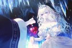 1girl 1other bare_shoulders blue_eyes blurry bow crown crystal dress fajyobore323 frills fur_trim heart holding icicle long_hair original pale_skin parted_lips sparkle standing white_bow white_dress white_hair