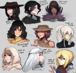 6+girls anri_of_astora black_eyes black_hair black_headwear blonde_hair blue_eyes blush braid braided_bun bright_pupils brown_hair circlet dark_souls_iii daughter_of_crystal_kriemhild empty_eyes fang frown glowing glowing_eyes great_swamp_cuculus green_eyes green_hair green_pupils grey_background grey_eyes grey_hair hair_between_eyes hat highres hood hood_up irina_of_carim jewelry karla_the_witch looking_at_viewer madwoman_(dark_souls) multicolored multicolored_eyes multiple_girls parted_lips ponytail portrait red_eyes ring robe scar scathegrapes shoulder_armor sidelocks sideways_mouth signature simple_background sirris_of_the_sunless_realms skin_fang smile souls_(from_software) spaulders white_eyes white_hair witch_hat yellowfinger_heysel yuria_of_londor