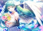 1girl adapted_costume angel_wings aqua_eyes aqua_hair aqua_nails bare_shoulders black_sleeves blue_sky blurry_foreground bouquet clouds commentary detached_sleeves dress falling_petals feathered_wings flower hair_ornament hatsune_miku holding holding_bouquet kashiwabara_en long_hair looking_at_viewer nail_polish neck_ribbon open_mouth outdoors petals pink_flower pink_rose ribbon rose shirt shoulder_tattoo sky sleeveless sleeveless_shirt smile solo tattoo twintails very_long_hair vocaloid white_dress wings yellow_flower