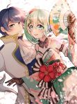 1boy 1girl 39 absurdres aqua_eyes aqua_hair bare_shoulders black_gloves blue_eyes blue_hair blurry blurry_background blurry_foreground coat commentary detached_sleeves dress_flower dutch_angle english_commentary falling_petals fan flower folding_fan gloves hair_ornament hairclip hatsune_miku highres holding holding_fan jabot japanese_clothes kaito kimono libertyp39 long_hair looking_at_viewer obi open_mouth petals red_flower sash sidelighting smile twintails upper_body vocaloid white_background white_coat white_gloves