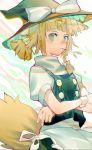 1girl absurdres alternate_hairstyle animal_ear_fluff animal_ears apron black_headwear black_skirt black_vest blonde_hair bow braid crossed_arms fox_ears fox_tail frilled_hat frills hair_bow hat hat_bow highres kirisame_marisa looking_at_viewer medium_hair mouth_hold noco_(pixiv14976070) shirt short_ponytail short_sleeves single_braid skirt solo stalk_in_mouth tail touhou turtleneck upper_body vest waist_apron white_bow white_shirt witch_hat wrist_cuffs yellow_eyes