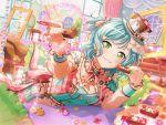 bangs blush dress green_eyes green_hair hikawa_hina short_hair smile valentines