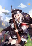 0qianben0 1girl armband bangs black_dress blue_sky blurry blurry_background bolt_action chinese_commentary commentary_request cowboy_shot day dress fur_trim girls_frontline gun hat highres holding holding_gun holding_weapon kar98k_(girls_frontline) long_hair looking_at_viewer mauser_98 outdoors peaked_cap red_eyes rifle short_dress signature sky smile solo weapon white_hair