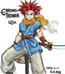1boy anniversary blue_eyes blue_shirt chrono_trigger closed_mouth copyright_name crono dated headband male_focus redhead s-a-murai scarf shirt short_sleeves simple_background smile spiky_hair sword weapon white_background