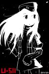1girl black_background character_name cowboy_shot dress gloves greyscale hat jacket kantai_collection long_hair minimalism monochrome open_clothes open_jacket parted_lips puffy_short_sleeves puffy_sleeves rariatto_(ganguri) short_sleeves solo spot_color standing twitter_username u-511_(kantai_collection)