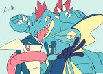 claws creature feraligatr gen_2_pokemon gen_6_pokemon gen_8_pokemon greninja inteleon no_humans pokemon pokemon_(creature) red_eyes sharp_teeth shiwo_(siwosi) simple_background teeth tongue tongue_out upper_body v w white_background yellow_eyes