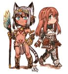 2girls :3 animal_ears bare_shoulders belt blue_eyes blush boots breastplate breasts brown_hair cat_ears cat_girl cat_tail chibi claws dark_skin dated diadem eyebrows_visible_through_hair faulds gauntlets greaves green_eyes grey_hair hair_ornament holding holding_staff kotoba_noriaki long_hair looking_at_viewer multiple_girls navel original parted_lips pelvic_curtain pigeon-toed pouch pubic_tattoo revealing_clothes scabbard sheath short_hair signature simple_background slit_pupils small_breasts staff sword tail tattoo walking weapon white_background