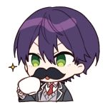 1boy bandaged_hands bandages bangs black_jacket blazer chibi collared_shirt cropped_torso cup eyebrows_behind_hair fake_facial_hair fake_mustache green_eyes grey_sweater hair_between_eyes holding holding_cup jacket kenmochi_touya long_sleeves male_focus necktie nijisanji open_blazer open_clothes open_jacket parted_lips purple_hair red_neckwear school_uniform shirt simple_background sleeves_past_wrists solo sparkle sweater teacup upper_body v-shaped_eyebrows virtual_youtuber white_background white_shirt yamabukiiro