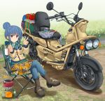 1girl bangs black_footwear blue_hair blue_pants boots brown_coat camping camping_chair chair closed_mouth coat coffee_mug crossed_legs cup day denim eyebrows_visible_through_hair fringe_trim grass green_scarf ground_vehicle hair_bun highres holding holding_cup honda honda_ps250 jeans kettle logo long_sleeves looking_at_viewer mikeran_(mikelan) motor_vehicle mug orange_skirt outdoors pants pants_under_skirt plaid plaid_skirt propane_tank scarf scooter shadow shima_rin short_hair sitting skirt smile solo thermometer v violet_eyes winter_clothes yurucamp