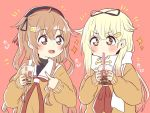 2girls black_ribbon blonde_hair brown_eyes bubble_tea commentary_request cup disposable_cup drinking_straw gloves hair_flaps hair_ornament hair_ribbon hairclip heterochromia kantai_collection light_brown_hair long_hair multiple_girls murasame_(kantai_collection) neckerchief orange_sweater red_background red_eyes red_neckwear remodel_(kantai_collection) ren_kun ribbon scarf school_uniform serafuku simple_background sparkle sweater two_side_up upper_body white_gloves white_scarf yuudachi_(kantai_collection)
