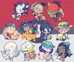 4girls 6+boys alcremie arcanine baseball_cap beanie black_hair blue_eyes blue_hair candy character_request charizard chibi closed_eyes closed_mouth commentary_request crossed_arms crossed_legs dande_(pokemon) dark_skin dark_skinned_male eldegoss fighting_stance fingerless_gloves flygon food freckles gen_1_pokemon gen_2_pokemon gen_3_pokemon gen_4_pokemon gen_5_pokemon gen_7_pokemon gen_8_pokemon gloves goldeen green_eyes grey_hair gym_leader hair_over_one_eye hairband hat hitmontop holding holding_poke_ball kabu_(pokemon) kibana_(pokemon) long_hair makuwa_(pokemon) mask melon_(pokemon) mimikyu multicolored_hair multiple_boys multiple_girls nezu_(pokemon) old_woman one_eye_closed onion_(pokemon) open_mouth pale_skin poke_ball poke_ball_symbol pokemon pokemon_(creature) poplar_(pokemon) purple_hair rurina_(pokemon) saitou_(pokemon) shorts shuckle skuntank sparkle sunglasses twitter_username two-tone_hair yamask yarrow_(pokemon) yellow_eyes yumenouchi_chiharu