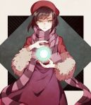 1girl brown_hair hat numbers_(boars) orb parted_lips purple_scarf scarf solo standing yellow_eyes