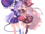 2girls animal_ear_fluff animal_ears bare_shoulders basket bow braid demon_girl demon_horns demon_tail demon_wings doughnut dress eyebrows fang food food_in_mouth frills gloves hair_bow hat highres holding holding_basket horns long_hair mini_wings multiple_girls open_mouth original pointy_ears puffy_sleeves purple_dress purple_hair purple_umbrella red_bow sakusya2honda short_eyebrows simple_background smile striped striped_dress striped_legwear succubus tail thigh-highs umbrella violet_eyes white_background wings