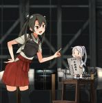 2girls annin_musou bangs black_legwear blush brown_eyes coat engine fairy_(kantai_collection) grey_hair hairband hakama hakama_skirt hand_on_hip japanese_clothes jet_engine kantai_collection long_hair multiple_girls muneate open_mouth ponytail red_hakama standing stool tasuki thigh-highs twintails white_hair zuikaku_(kantai_collection)