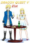 1boy 1girl alcohol alternate_costume bare_shoulders bella_(dq5) black_footwear blonde_hair blue_coat blue_eyes boots champagne champagne_bottle champagne_flute coat collarbone commentary_request copyright_name cup dragon_quest dragon_quest_v dress drinking_glass eyebrows_visible_through_hair food hair_between_eyes hero's_daughter_(dq5) hero's_son_(dq5) holding holding_cup long_hair looking_at_viewer off-shoulder_dress off_shoulder older pants piyori_(miko0126) plate purple_footwear short_dress simple_background smile spiky_hair table white_background white_dress white_pants