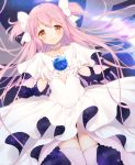 1girl blush breasts choker closed_mouth collarbone cowboy_shot cupping_hands dot_nose dress dutch_angle earth eyebrows_visible_through_hair floating_hair frilled_dress frills galaxy gloves goddess_madoka hair_between_eyes hair_ribbon half-closed_eyes hands_up happy highres kaname_madoka kazane_mari long_dress long_hair looking_at_viewer mahou_shoujo_madoka_magica pink_hair pink_legwear planet ribbon sidelocks sky small_breasts smile solo space star_(sky) starry_sky straight_hair thigh-highs thigh_gap transparent_wings two_side_up under_boob very_long_hair white_choker white_dress white_gloves white_neckwear white_ribbon wide_sleeves wings yellow_eyes zettai_ryouiki