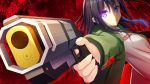 1girl apex_legends bangs black_hair character_request commentary_request copyright_request eyebrows_visible_through_hair green_jacket gun hair_between_eyes highres holding holding_gun holding_weapon iwamoto_sora jacket long_hair looking_at_viewer open_clothes open_jacket outstretched_arm pose red_background shadow shirt sidelocks solo titanfall titanfall_2 violet_eyes virtual_youtuber weapon white_shirt