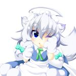 1girl ahoge animal_ears apron arms_up blue_skirt blue_vest braid chestnut_mouth chibi commentary_request dog_ears eyebrows_visible_through_hair gloves green_neckwear hair_between_eyes hair_ribbon hand_on_own_face highres inu_sakuya izayoi_sakuya looking_at_viewer maid_headdress muumuu_(sirufuruteienn) neck_ribbon one_eye_closed paw_gloves paws ribbon silver_hair simple_background sitting skirt solo touhou tress_ribbon twin_braids vest waist_apron white_background