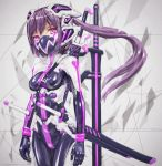 1girl arms_at_sides bodysuit breasts grey_background highres long_hair looking_at_viewer mask mecha_musume ninja_mask original pink_eyes ponytail purple_hair science_fiction sheath sheathed shiny shiny_clothes skin_tight small_breasts solo sword weapon yumikoyama49