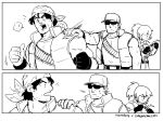 1girl 2boys bandana bullet clark_still hand_on_another's_shoulder leona_heidern multiple_boys nyattoberry ponytail puzzle ralf_jones shaking_head sunglasses the_king_of_fighters