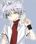 1boy ansatsu_kyoushitsu black_wristband blue_background dated galaxyleejy green_eyes headband horibe_itona shirt solo v white_hair white_shirt wristband