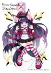 animal_ear_fluff animal_ears arms_up black_hair black_skirt blue_eyes brave_sword_x_blaze_soul candy chain claw_pose commentary_request copyright_name cuffs food fox_ears fox_tail full_body hat highres jacket knees_together_feet_apart lollipop long_hair miniskirt morino_donguri multiple_tails open_mouth original print_shirt purple_footwear purple_headwear purple_jacket shirt shoes shouting shrt simple_background skirt striped striped_legwear tail thigh-highs thighs very_long_hair white_background white_shirt