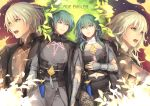 1boy 1girl armor black_shorts blue_eyes blue_hair byleth_(fire_emblem) byleth_(fire_emblem)_(female) byleth_(fire_emblem)_(male) closed_mouth copyright_name dagger eorinamo fire_emblem fire_emblem:_three_houses green_hair medium_hair multiple_views navel navel_cutout open_mouth pantyhose sheath sheathed short_shorts shorts twitter_username weapon
