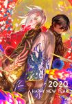 2020 2boys arjuna_(fate/grand_order) back-to-back black_hair dark_skin dark_skinned_male egawa_akira fate/grand_order fate_(series) hagoita haori happy_new_year highres japanese_clothes karna_(fate) kimono looking_at_viewer male_focus multiple_boys new_year paddle pale_skin scarf white_hair