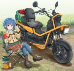 1girl bangs black_footwear blue_hair blue_pants bobblehat boots camping camping_chair chair closed_mouth coffee_mug commentary_request crossed_legs cup denim eyebrows_visible_through_hair fringe_trim grass ground_vehicle highres holding holding_cup honda honda_ps250 jeans kettle logo looking_at_viewer mikeran_(mikelan) motor_vehicle mug pants pants_under_skirt partial_commentary plaid plaid_skirt propane_tank red_skirt scarf scooter shadow shima_rin short_hair sitting skirt smile solo thermometer v violet_eyes white_headwear white_scarf winter_clothes yurucamp