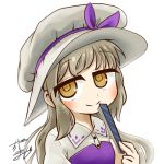 +_+ 1girl avatar_icon chamaji collared_shirt commentary_request eyebrows_visible_through_hair fan folding_fan hat hat_ribbon holding holding_fan long_hair looking_at_viewer lowres partial_commentary ribbon shirt sidelocks signature smile solo touhou upper_body vest watatsuki_no_toyohime white_background
