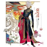 1boy blue_eyes egawa_akira fate/apocrypha fate_(series) flower highres holding holding_flower indian_clothes indian_text karna_(fate) lotus male_focus pale_skin pointy_shoes shawl shoes solo white_hair