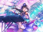 bang_dream! black_hair blush dress keyboard_(instrument) long_hair shirokane_rinko smile violet_eyes